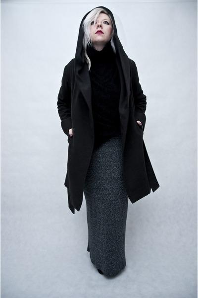 black Mosquito coat - heather gray Zara skirt - black second hand blouse