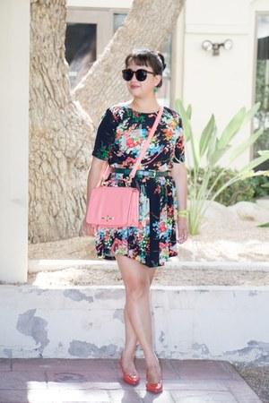 color asos dress - pink Miztique bag - coor ann taylor belt