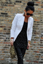 white Tommy Hilfiger blazer - faux leather trouve leggings - sequins Zara bag