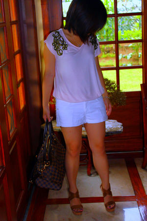 H&M top - H&M shorts - bought online shoes - Louis Vuitton purse