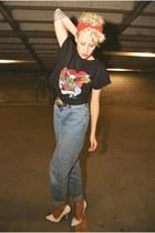 vintage harley shirt - jeans - Zara heels