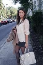 Arc & Co top - Theory skirt - f21 tights - banana republic necklace - Zara coat