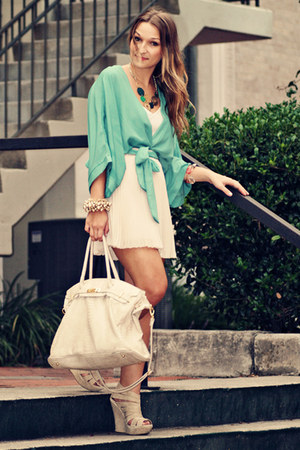 aquamarine Lush top - eggshell calzatura bag - eggshell Wish Collection skirt