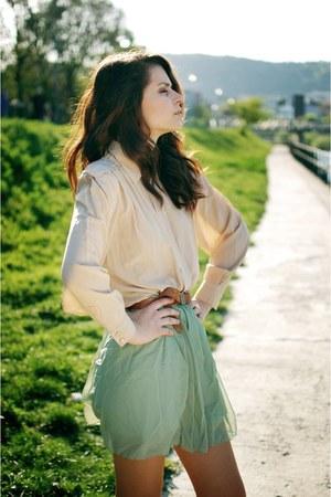 lime green skirt - beige shirt - light brown Esprit belt