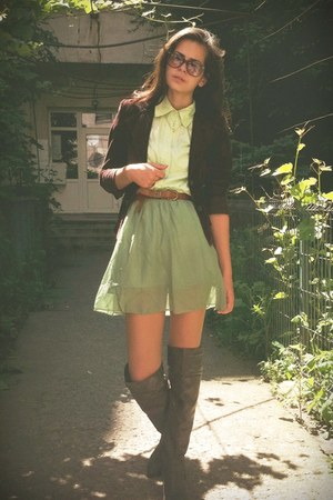 lime green skirt - brown boots - brown blazer - lime green shirt - tawny belt