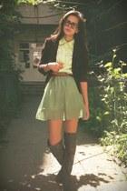 lime green skirt - brown boots - brown blazer - lime green shirt - tawny belt
