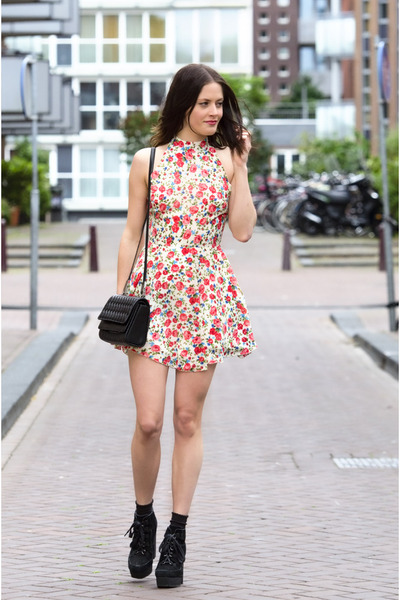 coral floral Love dress - black asos boots - black quilted Theyskens Theory bag