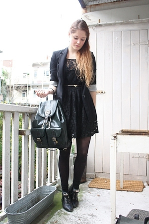 black Love Label dress - black Zara blazer - black H&amp;M tights - black vintage bo