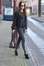 Charcoal-gray-river-island-jeans-gray-biker-goosecraft-jacket