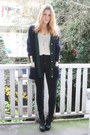 Navy-buttoned-vintage-cardigan-black-buckle-dolce-vita-boots