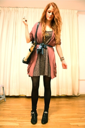 purple elle cardigan - purple made by me dress - black vintage boots