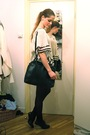 White-vintage-top-gray-american-apparel-skirt-black-united-nude-shoes-blac