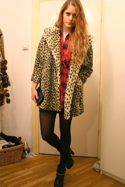 beige Topshop coat - red my grandmas shirt - black H&M boots