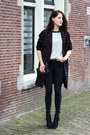 Crimson-tartan-urban-outfitters-coat-black-river-island-jeans