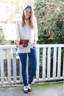 Blue-cos-jeans-brick-red-vintage-bag-ivory-vintage-blouse-black-h-m-flats