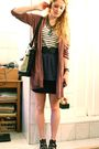Brown-elle-cardigan-blue-vintage-skirt-white-h-m-top