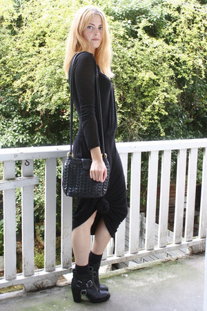 black grecian knotted UO dress - black buckle Dolce Vita boots