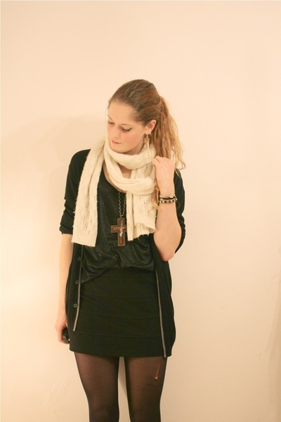 black H&M skirt - black Strellson cardigan - white H&M scarf
