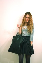 silver vintage top - gray American Apparel skirt - black vintage purse - gray H&