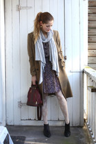 brown Mango coat - light brown vintage dress - brick red mallorca souvenir - sil