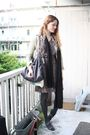 Brown-vintage-dress-beige-zara-jacket-black-h-m-scarf-gray-stella-mccartne