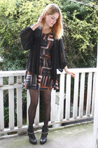 black chiffon H&M top - black customized H&M boots - brick red print Monki dress