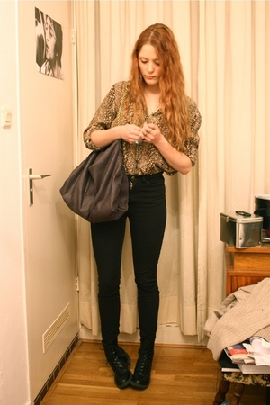 brown vintage blouse - gray Stella McCartney purse - black American Apparel jean