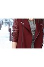 Crimson-leather-sleeved-zara-coat-heather-gray-palladium-boots