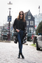 black Luz bag - navy COS jeans - black Mint & Berry cardigan