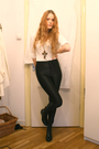 Black-american-apparel-pants-white-h-m-top-black-wedins-boots-brown-gift-n