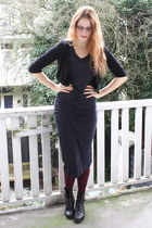black lace-up vintage boots - dark gray maxi Topshop dress - crimson tights H&M