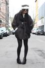 Gray-h-m-trend-coat-black-h-m-shoes-blue-episode-necklace-black-h-m-scarf