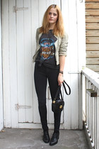 black bagatt shoes - black zipper American Apparel jeans - beige leather Zara ja