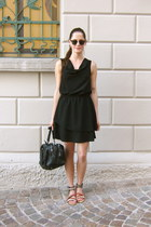 black draped dress - black zipper bag - dark brown clubmaster ray-ban sunglasses