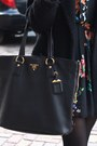 Black-floral-atmosphere-dress-black-mango-coat-black-prada-bag