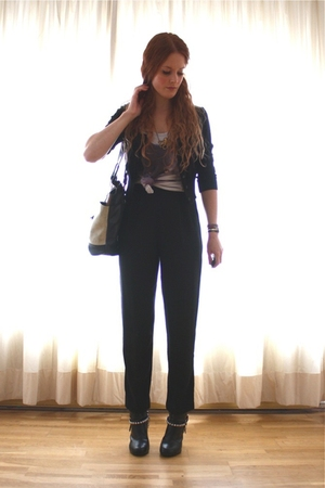 black H&amp;M cardigan - gray Bershka top - black vintage pants - gray vintage purse