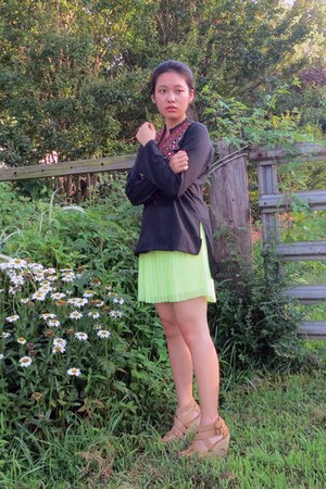 lime green pleated neon Arizona skirt - dark gray Goodwill blouse