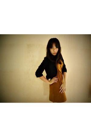black blazer - brown dress