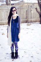 blue velvet cotton on dress - black mens fila boots - navy H&M leggings