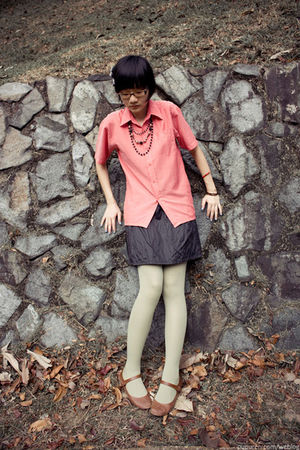 pink snail shirt - black Mphosis skirt - green 3dots leggings - brown TrendyZone