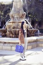 blue sling satchel Forever21 bag - white Dr Martens boots