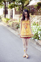 maroon skirt - light yellow Forever 21 dress - ivory rainy day print Moe tights