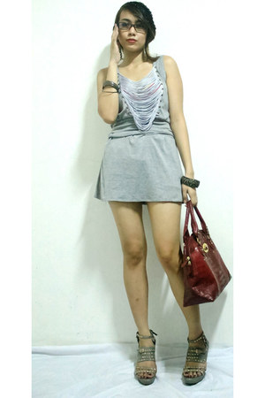 silver fringe unknown brand dress - brick red Galaxy bag