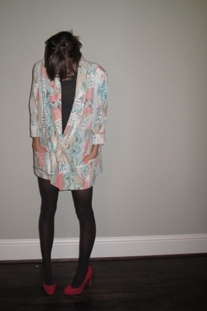 vintage blazer - HUE tights - Christian Louboutin shoes - American Apparel t-shi