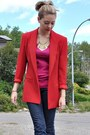 Red-blazer-blue-gap-jeans-hot-pink-joe-fresh-t-shirt