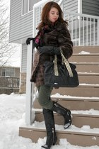brown faux fur thrifted vintage jacket - black BCBG boots - olive green LC pants