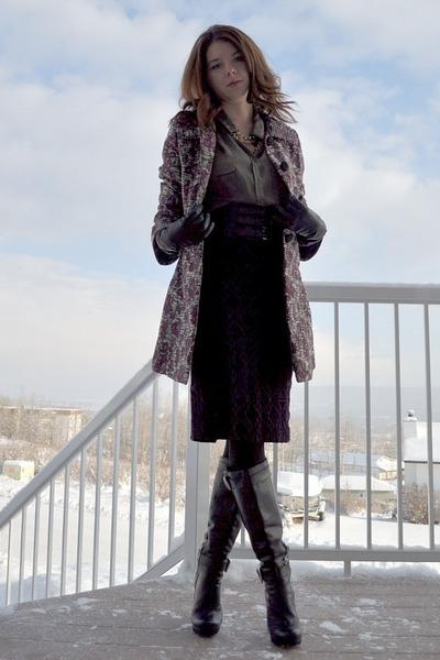 black BCBG boots - deep purple Joe Fresh skirt