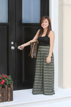 stripes H&M skirt - black H&M top