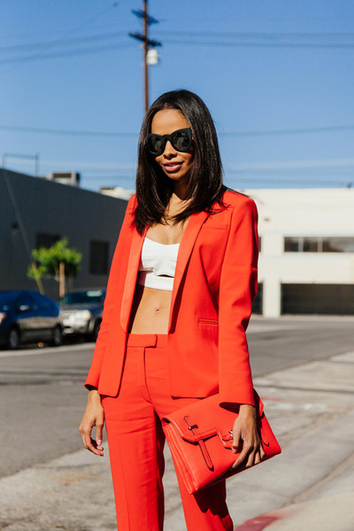 red SANDRO blazer - red Rebecca Minkoff bag - ivory intermix bra