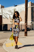 black Clover Canyon skirt - yellow Alexander Wang bag - black Zara heels